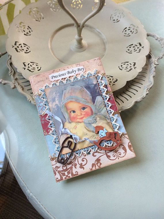 Vintage-style Baby Boy Card  Welcome Baby Boy Card