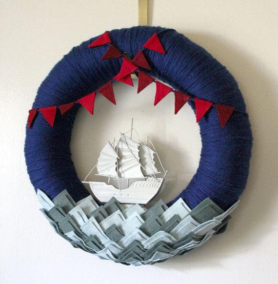 Nautical Wreath, Ship Wreath, Boat Wreath, Yarn and Felt Wreath, Wreath for Boys, 14 inch size