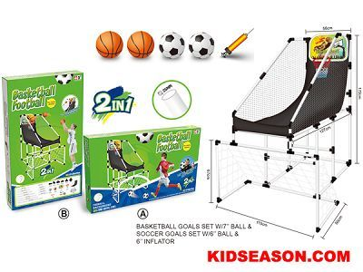 Kidseason Toys, Sport Toys, Ball & Set, 2 IN 1 KIDS INDOOR BASKETBALL SHOOTING GAME STAND AND FOOTBALL GATE SOCCER GOALS SET,China