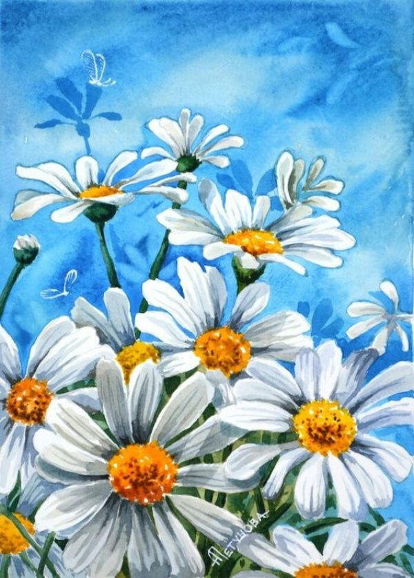 40 Easy Acrylic Painting Ideas For Beginners To Try Feminatalk Acrylic Painting Flowers Daisy Painting Simple Acrylic Paintings