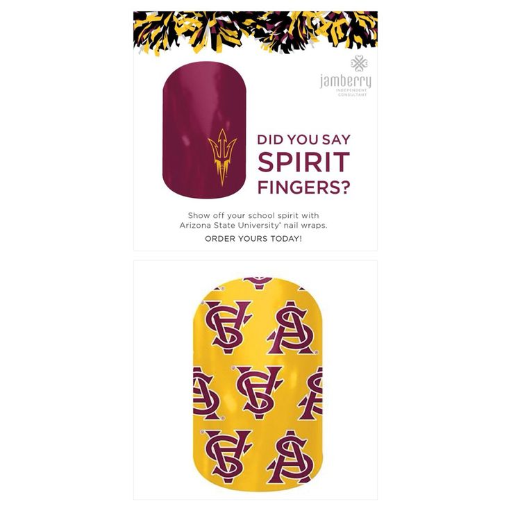 Arizona State University Sun Devil Fans ......... Show off your college team pride with Jamberry nail wraps!  Available at:  www.kerryarnold.jamberrynails.net - check them out in the Collegiate section!