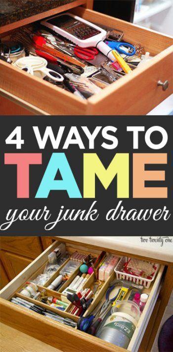 Junk drawer, junk drawer organization, organization, popular pin, DIY organization, storage ideas, home improvement, tame the clutter, clutter free living.