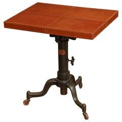 Industrial Base Leather Side Table