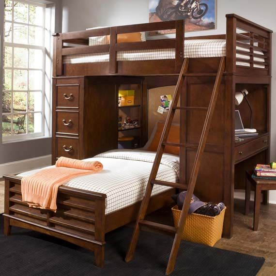 this liberty chelsea square loft bunk bed with cork board headboard offers quality and function to any bedroom with woodonwood glides