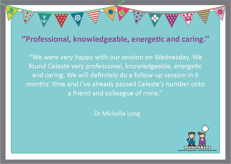 Such wonderful feedback from Michelle Long (ENT) for Munchkins Coach and Occupational Therapist, Celeste Rushby! http://bit.ly/2iCmDtL