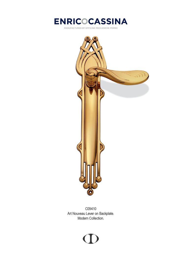 lever on back plate, polished brass, modern, art nouveau, design, door handle