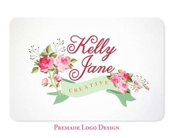shabby chic rose logo premade design for photographers