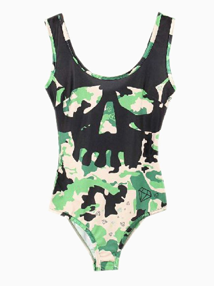 Skull Camouflage Printed Swimsuit Or Bodysuit | Choies