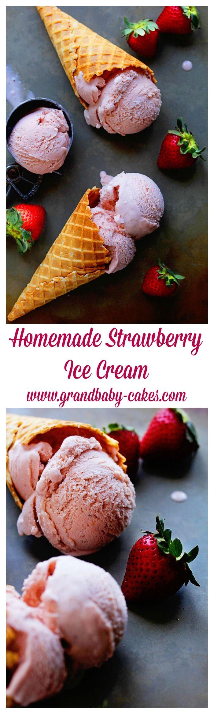 Homemade Strawberry Ice Cream - so luscious, sweet and creamy! ~ http://www.grandbaby-cakes.com