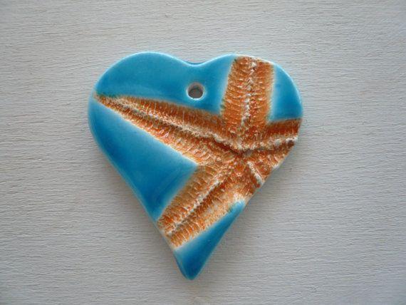 ciondolo in ceramica con stella marina - ciondolo stella marina - stella marina - ciondolo ceramica - collana estate - ciondolo estate -