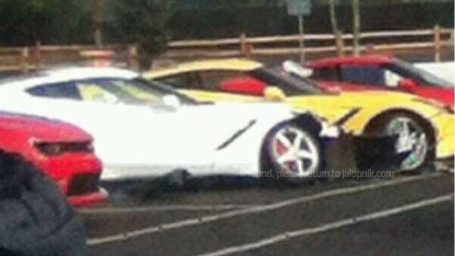 Someone Crashed A New 2014 Impala Into Three New Corvette Stingrays