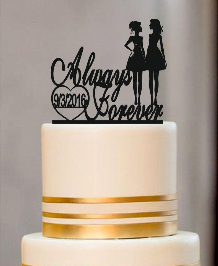 Same Sex Cake Topper,lesbian Cake Topper,Mrs and Mrs Wedding Cake Topper, Wedding Silhouette Couple Cake Topper,Always and Forever by EDESIGNLASER on Etsy