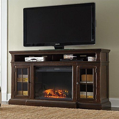 """Ashley Roddinton 74"""" TV Stand with Wide LED Fireplace in Dark Brown"""