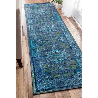 Shop for nuLOOM Traditional Vintage Inspired Overdyed Fancy Blue Runner Rug (2'6…