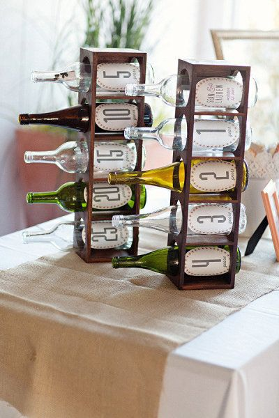 Wedding guests write notes and slip them in whatever year bottle they want. Open it on your anniversary that year.--this would be especially special for the later years where maybe some of the people who put something in those bottles passed away.