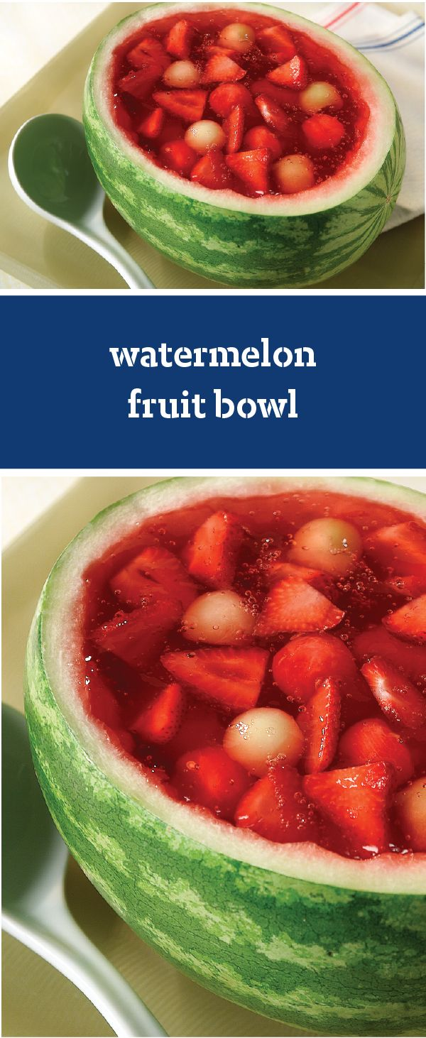 Watermelon Fruit Bowl – Surprise the BBQ crowd with this Watermelon Fruit Bowl recipe. Filled with the fresh flavors of the season, this sweet side dish is sure to be a hit. Talk about a slice of summer fun!