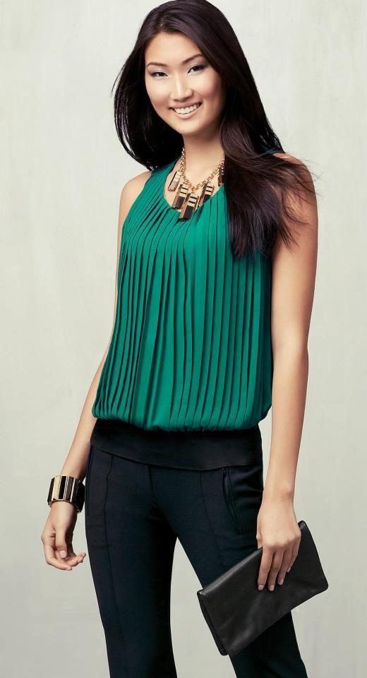 Simple pants, pretty blouse, simple accessories. Ann Taylor