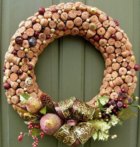 Champagne Kisses!! Champagne Kisses Cork Wreath by RefinedTerroirDecor on Etsy, $125.00