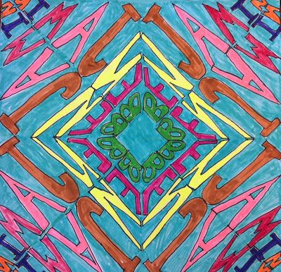 Kaleidoscope name art...did this in high school and it was so much fun kids will love this for sure
