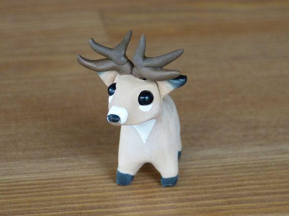 Tiny white-tailed deer - Handmade miniature polymer clay animal figure