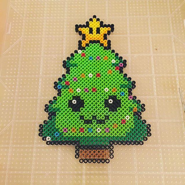 Kawaii Christmas tree perler beads by equivaient