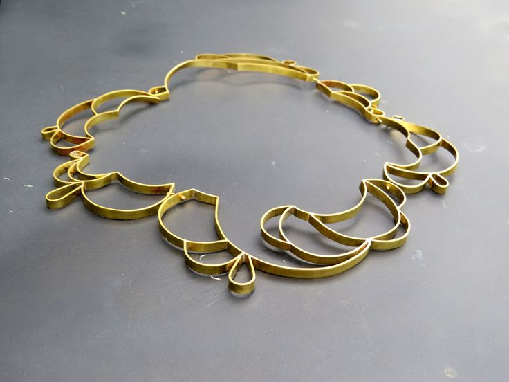 Converted Lace  opt.1 neck piece materials: gold plated brass ribbon