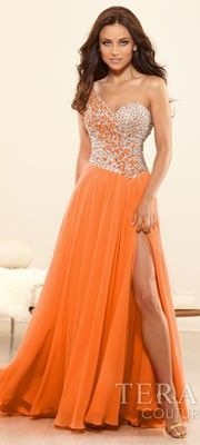 Terani 2014 Prom Dresses - Orange Crystal & Chiffon One Shoulder Prom Gown