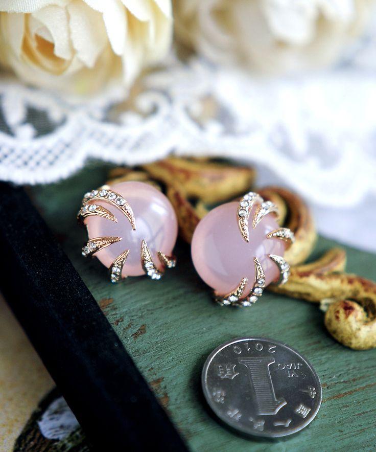 Природные камни розовый кварц / опал / смолы 18K золото старинные серьги без драгоценных камней скидка - глобальной станции Taobao