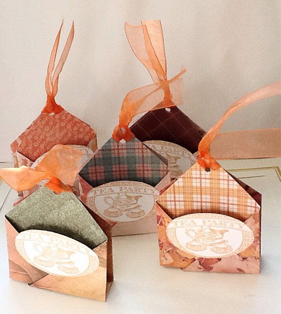 Handmade tea bag holders tea Party Favors fall colors by Wcards