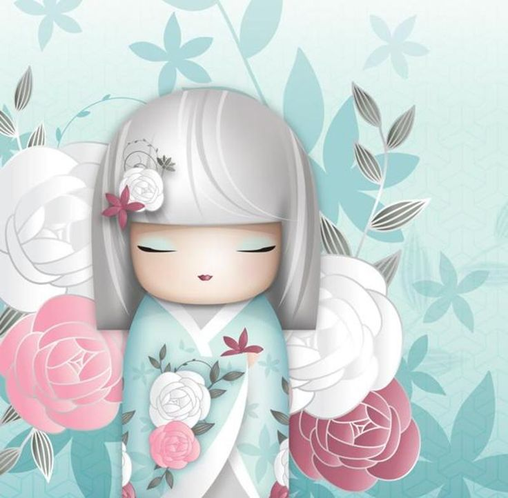 """✿ Kimmidoll Illustration ~ """"Ako"""" 'Charming' ✿ """"My spirit is outgoing and loveable. Your amiable and friendly nature allows my spirit to shine. May your engaging manner and captivating charm bring true love and lasting friendships your way."""""""