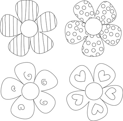 Four Funky Flower Digital Stamps free download ~ Kate Pullen