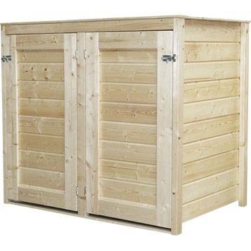 Cache-poubelle double en bois Lokka, NATERIAL, naturel, 1.14 m² | Leroy Merlin