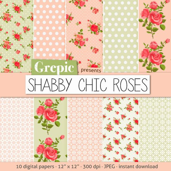 """Roses digital paper: """"Shabby chic roses"""" with digital paper roses and polka dots in pink, green, white for scrapbooking, invites, cards"""
