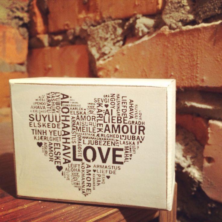 Love dekoracyjny klocek drewniany