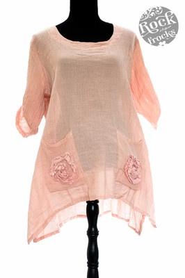 Lagenlook Flowing Pink Rosette Pocket Top (One Size)