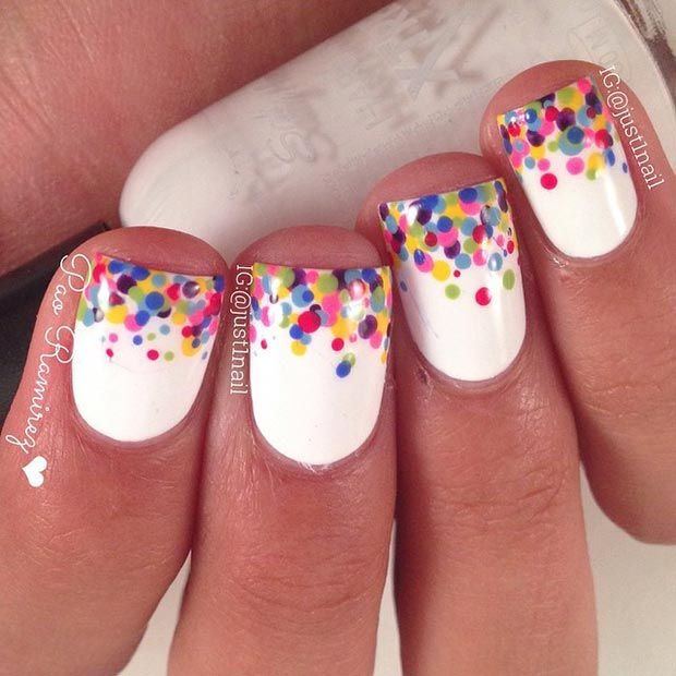 Colorful Polka Dot Tips Nail Design for Short Nails