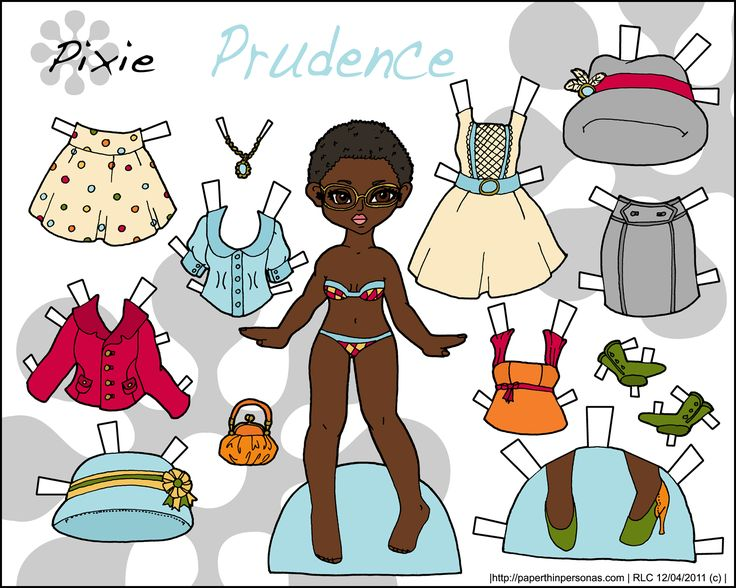 Prudence paper doll with a little afro and a vintage inspired wardrobe. She's printable, full color and fun to play with.