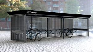 K3 bike shelter by the Danish firm Cycle Spaces. Click image for details & visit this board for more Nice Racks >> http://www.pinterest.com/slowottawa/nice-racks/