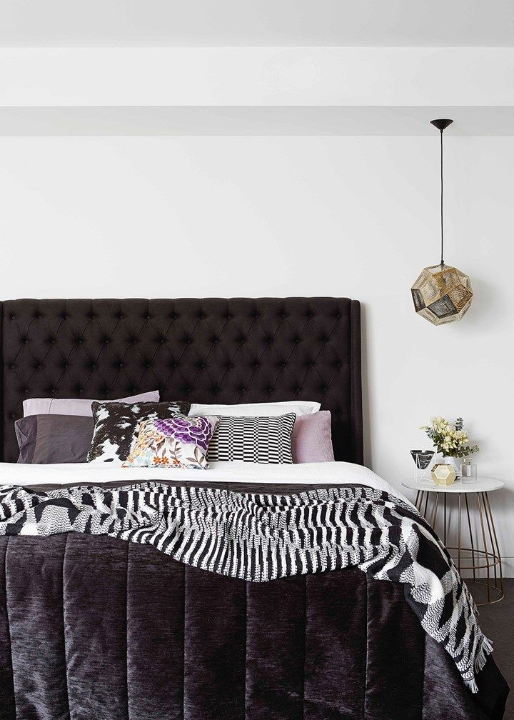 Monochrome bedroom with hints of gleaming gold | Home Beautiful Magazine Australia
