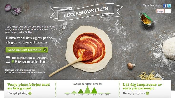 Testa Pizzamodellen. Det är enkelt. Istället för att slänga bort maten som blir över, släng den på en pizza. Ingen rest är för liten. Välkommen att titta in på vår hemsida för mer information och för spännande pizzarecept.