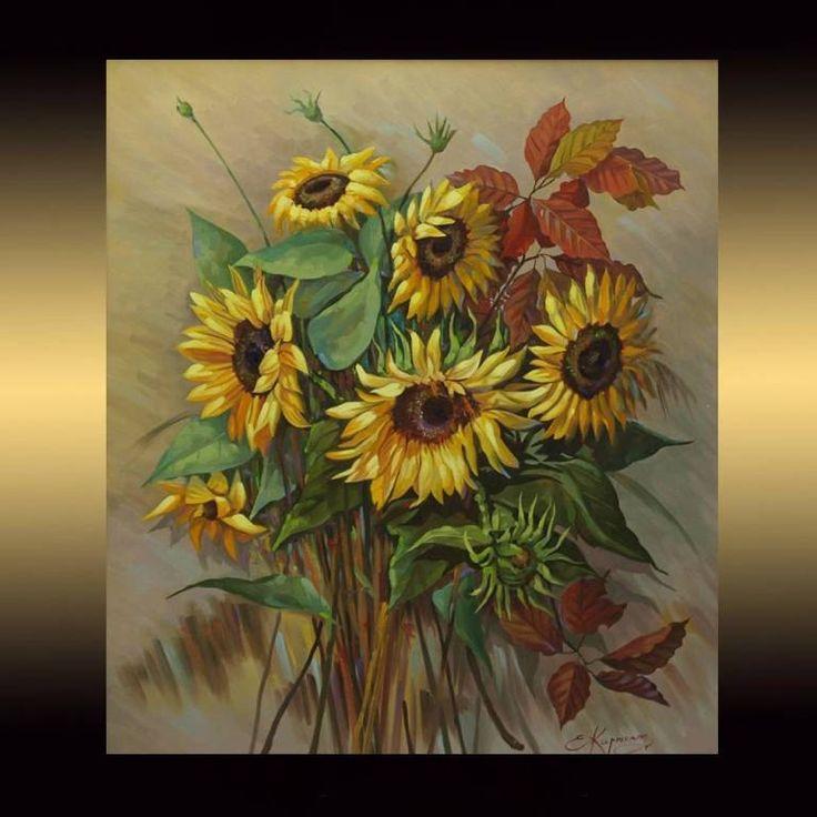 Sunflowers Medium Original Oil Painting On Canvas