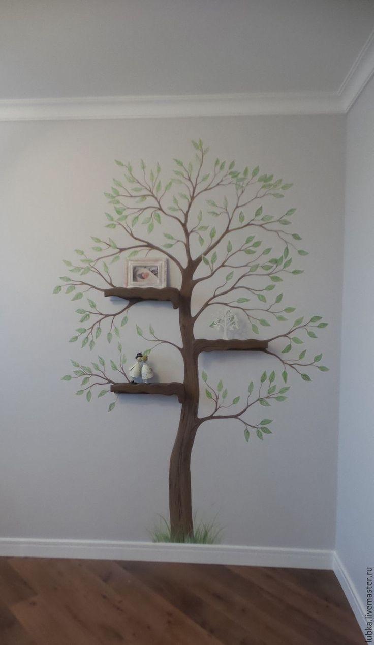 Купить Дерево с полочками - комбинированный, роспись стен, дерево с полками, дерево с полочками, полочки в детской