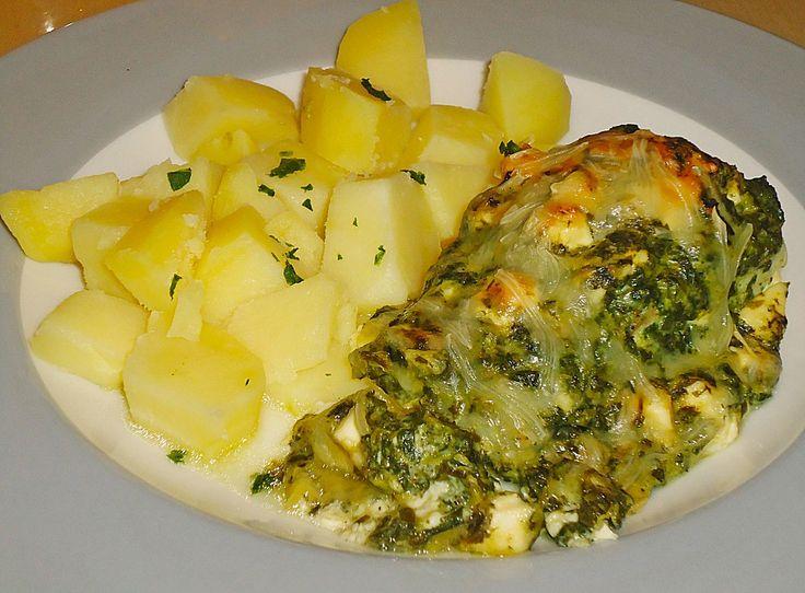 Seelachsfilet mit Spinat - Feta - Kruste, ein sehr schönes Rezept aus der Kategorie Fisch. Bewertungen: 152. Durchschnitt: Ø 4,4.