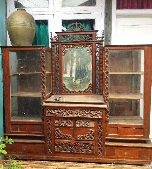 Carved Cabinet. Made of teak.
