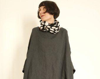 Vestiti in Lino – Tunica Lino Antracite – Casacca XXL – Maxi Tunica – Abbigliamento Donna – Vestito Antracite – Tunica Larga Collo ad Anello