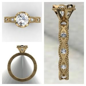 Yellow Gold Vintage style Engagement Ring www.samuelkleinberg.com