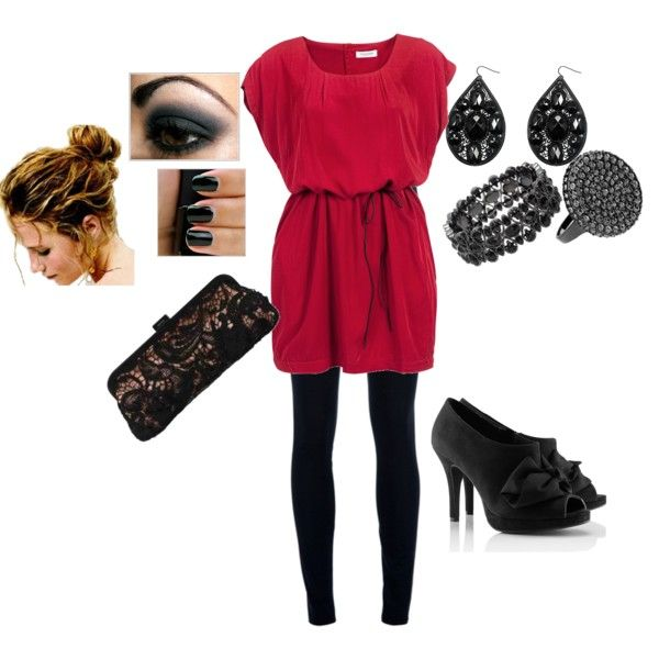 Take Me Home Tonight, black, leggins,tunics,messy bun created by dianna-didomenico: Style Chosen, Fun Style, Hair Style