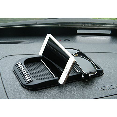 #LEIWOOR Car Anti Slip Mat Dashboard Parking Card GPS Holders For Key Cell Phone Sunglass (black (classic type))
