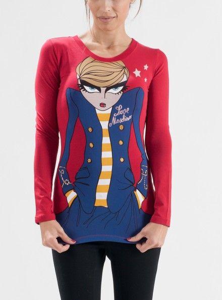 LOVE MOSCHINO T-SHIRT 93% Cotone 7%   Elastan Colore Rosso T-Shirt Con Stampa