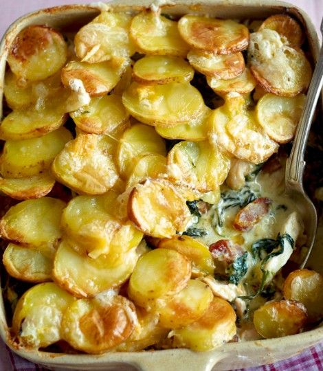 (Tried and loved!) Chicken Tartiflette:  A french casserole of chicken, bacon, spinach potatoes and cheese.